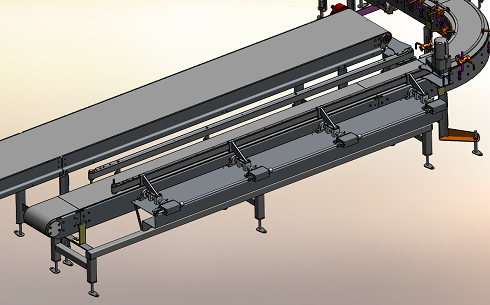 conveyor belt drawing that carries boxes down unto the AquaGard 7100 Series sanitary conveyor